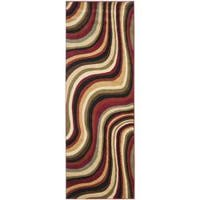 Safavieh Porcello Contemporary Waves Red/ Multi Runner Rug (2'4 x 9') - 2'4 x 9'