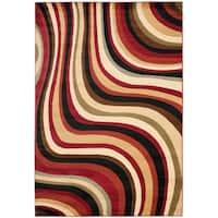 "Safavieh Porcello Contemporary Waves Red/ Multi Rug - 4' x 5'7"""