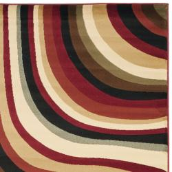 Safavieh Porcello Contemporary Waves Red/ Multi Rug (6'7 x 9'6) - Thumbnail 1