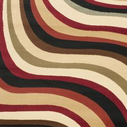 Safavieh Porcello Contemporary Waves Red/ Multi Rug (6'7 x 9'6) - Thumbnail 2