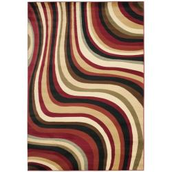 Safavieh Porcello Contemporary Waves Red/ Multi Rug - 6'7 x 9'6 - Thumbnail 0