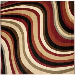 Safavieh Porcello Contemporary Waves Red/ Multi Rug (7' Square)