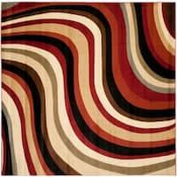 Safavieh Porcello Contemporary Waves Red/ Multi Rug - 7' x 7' Square