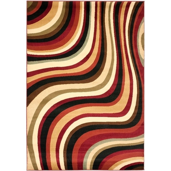 Safavieh Porcello Contemporary Waves Red/ Multi Rug - 8' x 11'2""