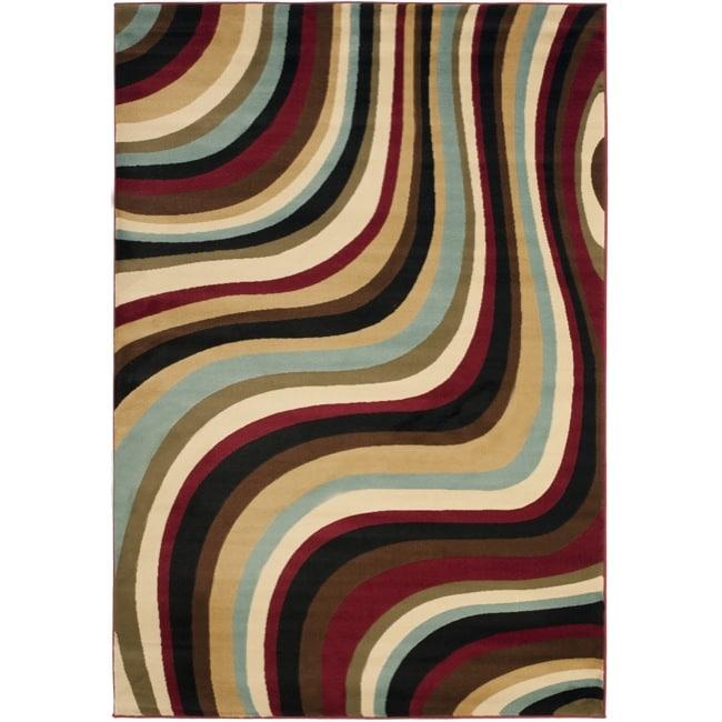 Safavieh Porcello Contemporary Waves Blue/ Multi Rug (4' x 5'7)