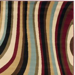 Safavieh Porcello Contemporary Waves Blue/ Multi Rug (4' x 5'7) - Thumbnail 1
