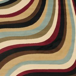 Safavieh Porcello Contemporary Waves Blue/ Multi Rug (4' x 5'7) - Thumbnail 2