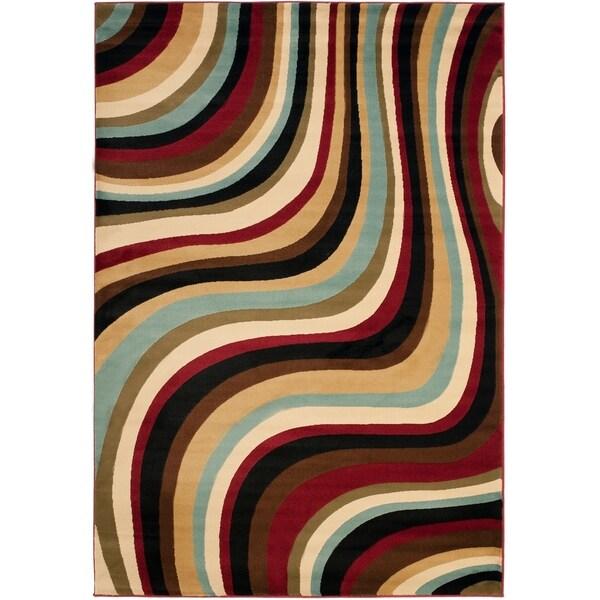 "Safavieh Porcello Contemporary Waves Blue/ Multi Rug - 8' x 11'2"""