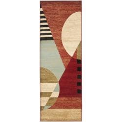 Safavieh Porcello Modern Abstract Multicolored Rug - 2'4 x 9' - Thumbnail 0