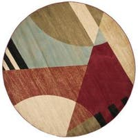 Safavieh Porcello Modern Abstract Multicolored Rug - Brown/Red - 7' x 7' Round