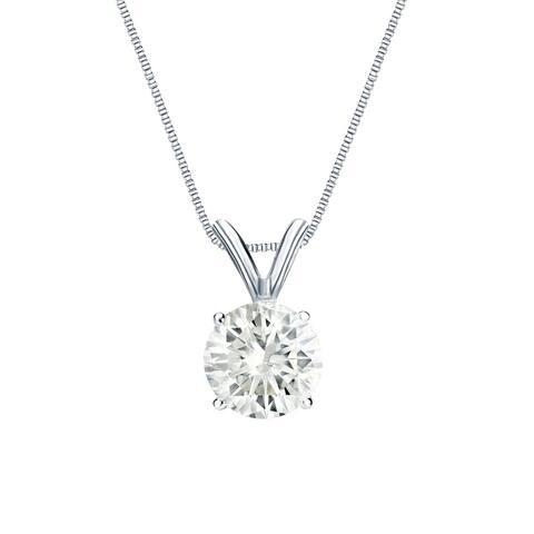 Auriya 14k Gold Round Solitaire Diamond Necklace 1/2 carat TDW
