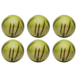Red Vanilla Nature Sphere Fossilized Leaves with Feather 4-inches Ball (Set of 6)