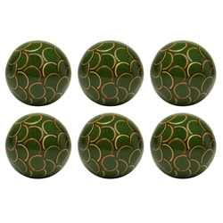 Red Vanilla Nature Sphere Bamboo Inlay Green 4-inch Ball (Set of 6)