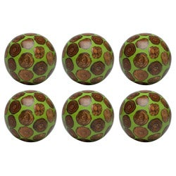 Red Vanilla Decorative Nature Sphere Crossed Cut Green 4-inch Ball (Set of 6)
