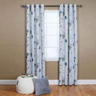 Aurora Home Flower Printed 84-inch Grommet Curtain Panel Pair