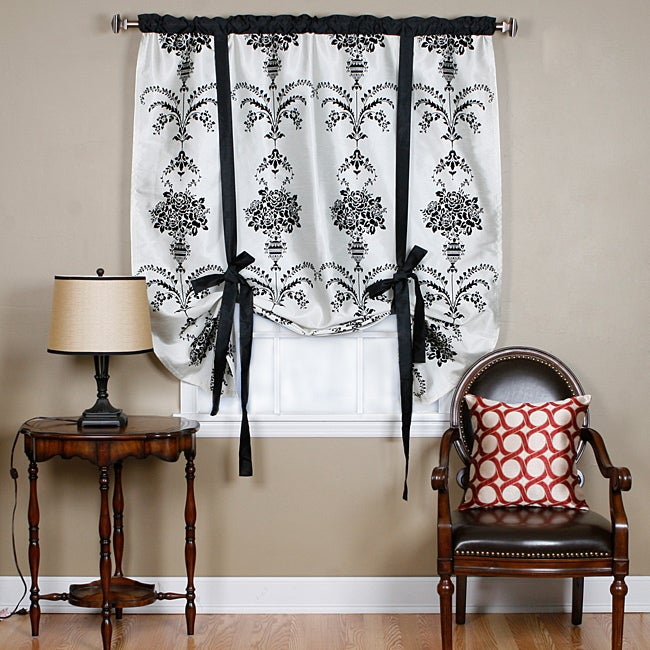 Aurora Home Black Velvet 70-inch Damask Tie-up Window Shade