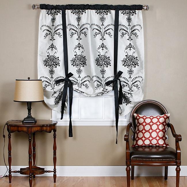 Aurora Home Black Velvet 70 Inch Damask Tie Up Window