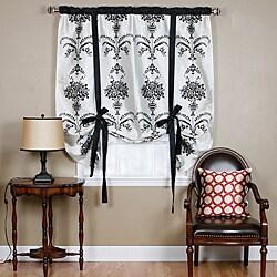 Aurora Home Black Velvet 70-inch Damask Tie-up Window Shade