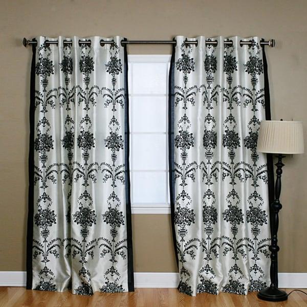 Aurora Home Black Velvet 84-inch Damask Curtain Panel Pair