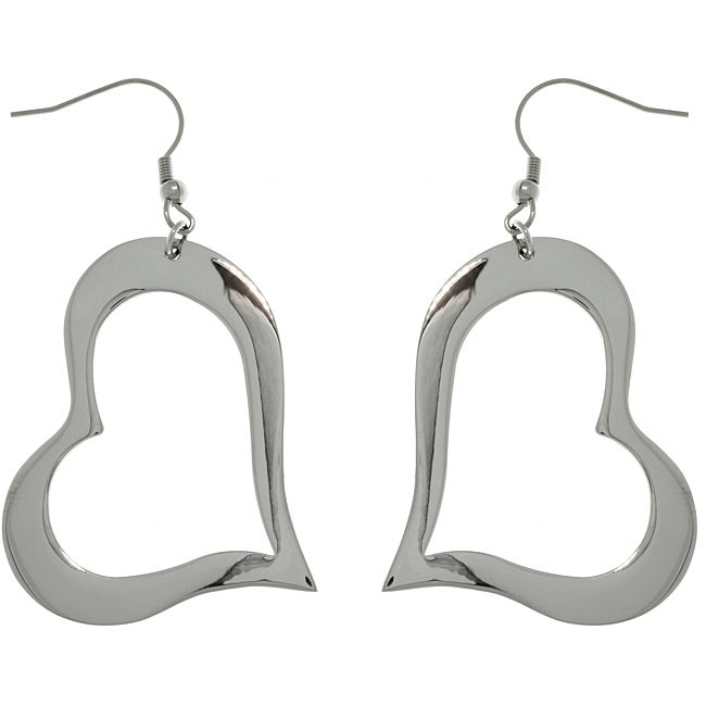 Carolina Glamour Collection Stainless Steel Open Heart Drop Hook Earrings
