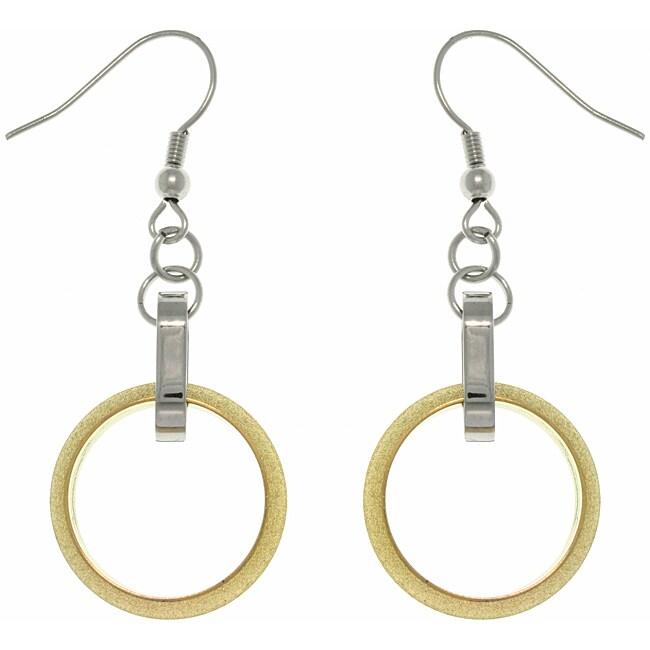 Carolina Glamour Collection Two-tone Stainless Steel Interlocking Circle Drop Hook Earrings