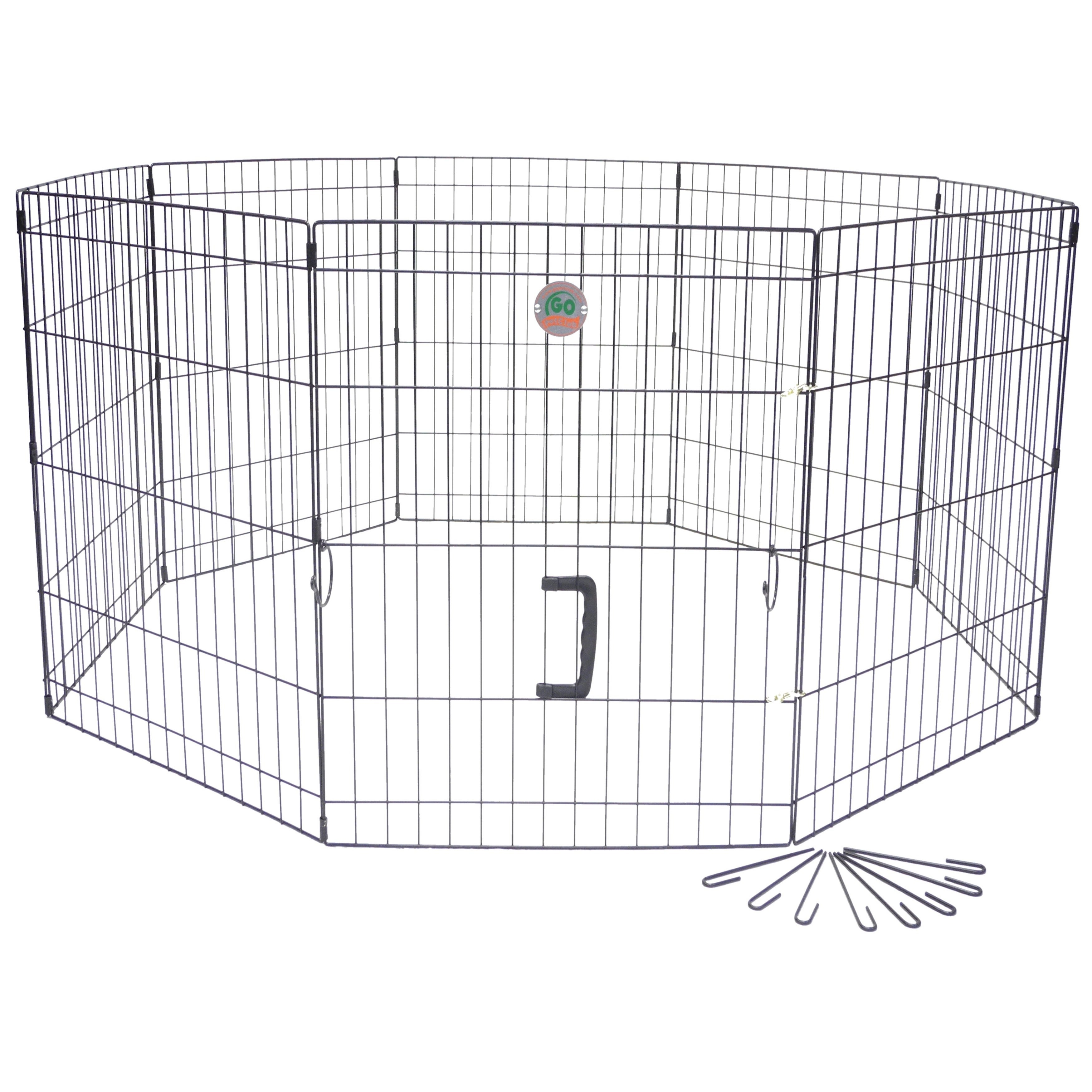 GoPetClub 30-inch Pet Exercise Play Pen (Color : Black 8 ...