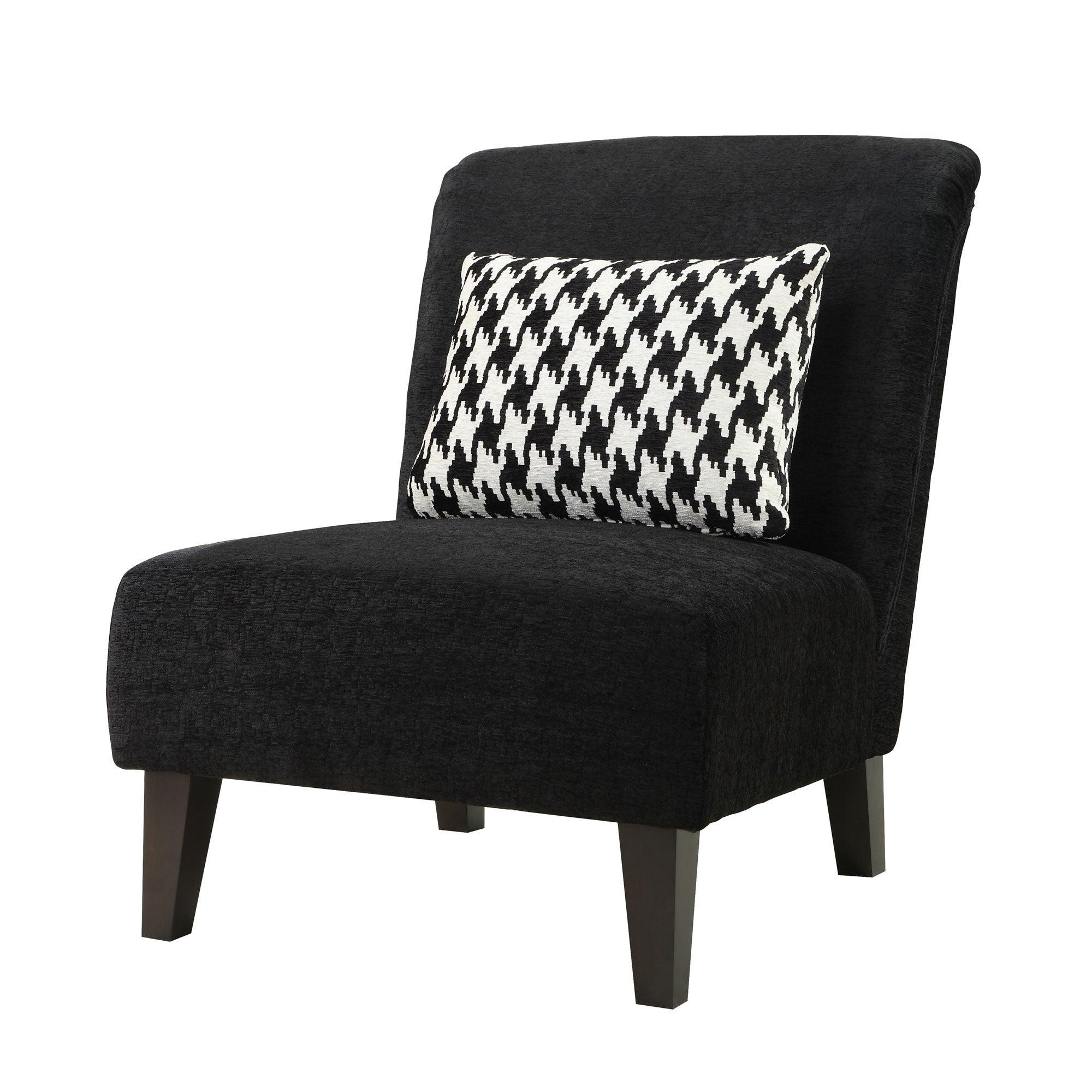 Terrific Anna Black Accent Chair With Houndstooth Grande Pillow Creativecarmelina Interior Chair Design Creativecarmelinacom