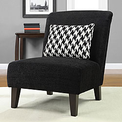 Shop Anna Black Accent Chair With Houndstooth Grande