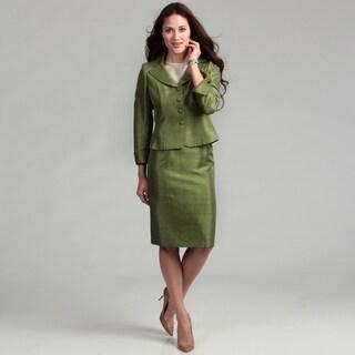 Le Suit Women's 4-button Melange Carwash Jacket & Skirt Suit