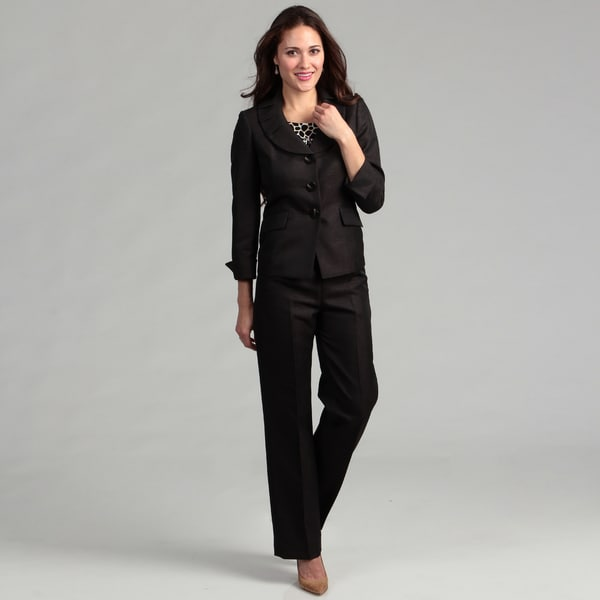Le Suit Women's 3-button Melange Pleated Collar Jacket and Pant Suit