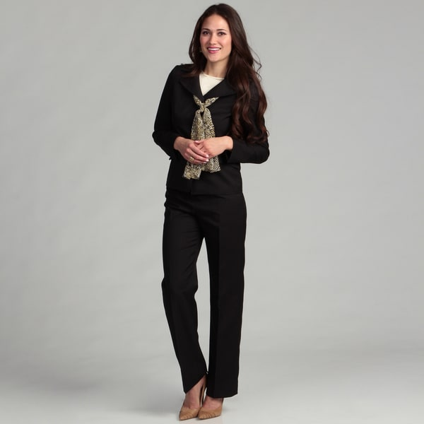 Le Suit Women's 3 Button Wide Notch Collar Twill Jacket & Pant w/Scarf