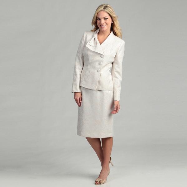 Le Suit Women's Three-button Jacquard Skirt Suit