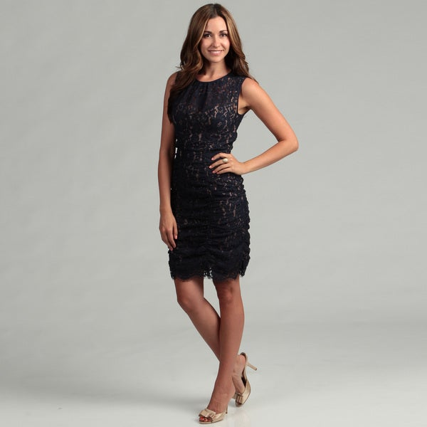 Eliza J Women's Navy Lace Ruche Dress FINAL SALE