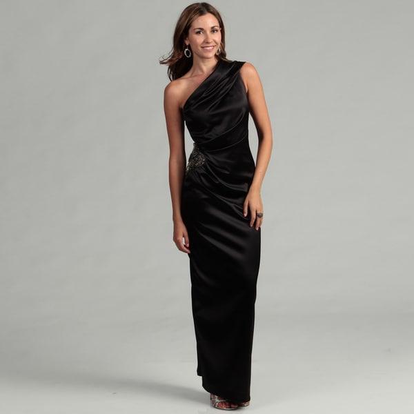 Eliza J Women's Black One-shoulder Beaded Gown