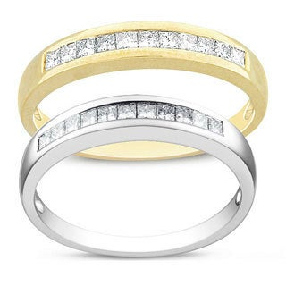 Miadora 14k Gold 1/3ct TDW Princess Diamond Ring
