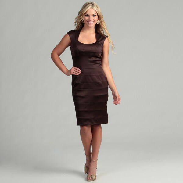Jessica Howard Women's Brown Satin Cap-sleeve Dress