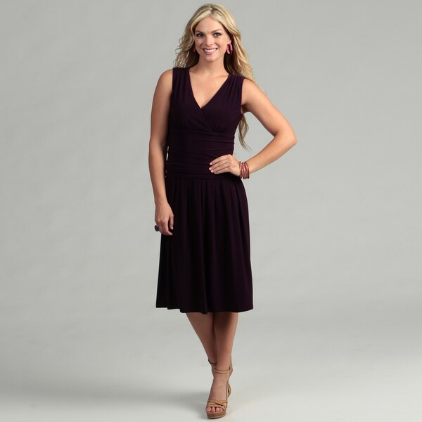 Jessica Howard Women's Eggplant Jersey Dress