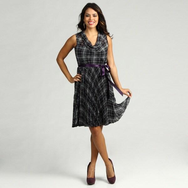 Jessica Howard Women's Purple Ribbon Belt Dress