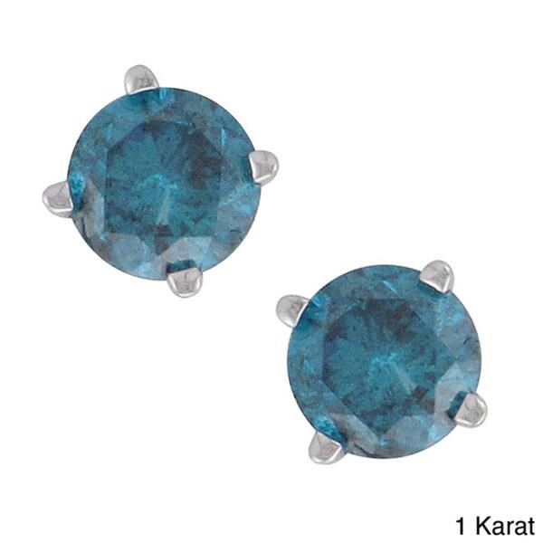 Unending Love 14k White Gold Round Blue Diamond Stud Earrings