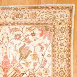 Afghan Hand-knotted Vegetable Dye Oushak Beige/ Gold Wool Rug (8'11 x 12'5)