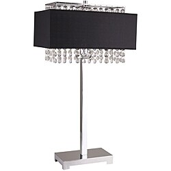 28-inch Black Square Crystal Table Lamp