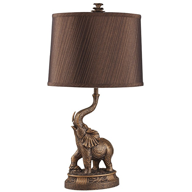 High Quality 27 Inch Bronze Elephant Table Lamp