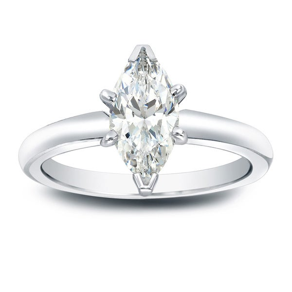 Auriya 14k Gold 1ct TDW Marquise Diamond Solitaire Engagement Ring