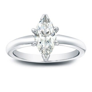 Auriya 14k Gold 1ct TDW Marquise-Cut Diamond Solitaire Engagement Ring