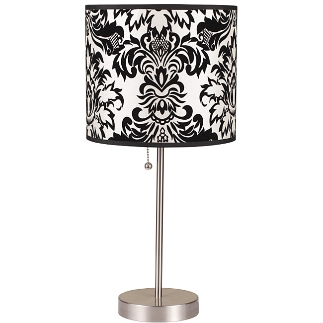 19-Inch Black/White Floral Printed Brushed-Steel Table Lamp