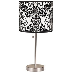 19-Inch Black/White Floral Printed Brushed-Steel Table Lamp - Thumbnail 0