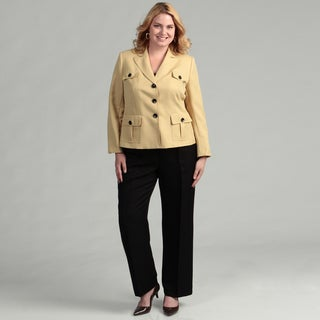 Evan Picone Women's Zest/ Black 2-piece Pant Suit