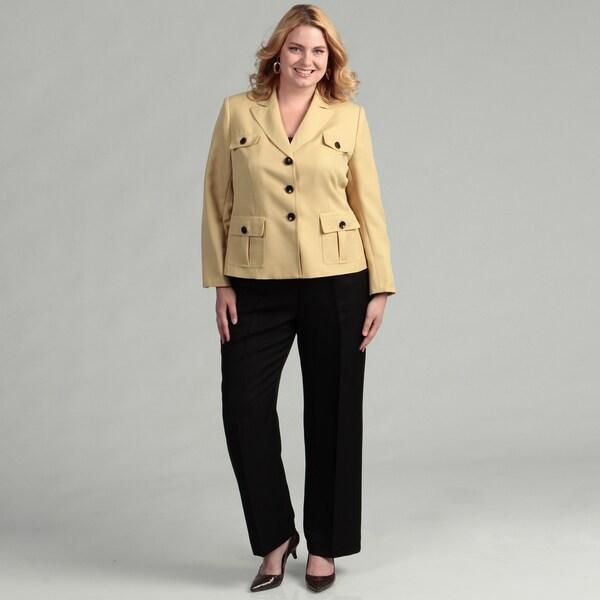 Evan Picone Women's Zest/ Black 2-piece Pant Suit
