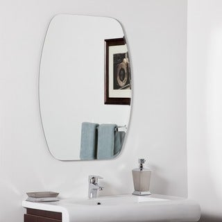 Decor Wonderland Sydney Silver Glass 31.5-inch Frameless Modern Bathroom Mirror