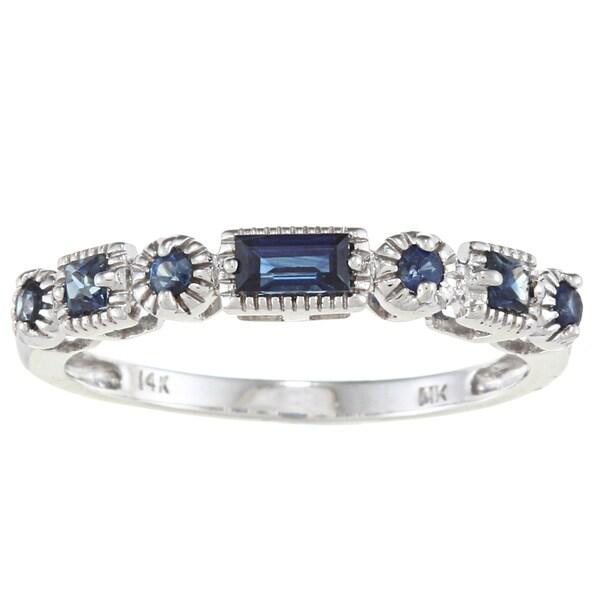 14k White Gold 3/8ct TGW Blue Sapphire Band